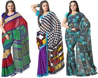 Silkbazar Printed Daily Wear Synthetic Georgette Saree(Pack of 3, Multicolor)