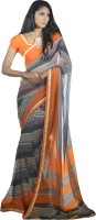 Magnum Opus Store Printed, Self Design Daily Wear Poly Georgette Saree(Orange, Grey)