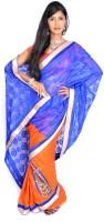 Jagadamba Solid Fashion Silk Saree(Multicolor)