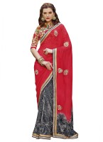 Patiala House Printed, Embroidered Fashion Georgette Saree(Red, Grey)