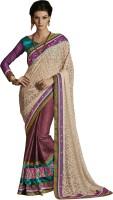 Ewows Solid Fashion Jacquard Saree(Brown)