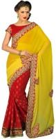Chirag Sarees Self Design Chanderi Chanderi Saree(Red, Yellow)