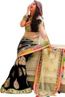 Welcome Fashion Embroidered Bollywood Handloom Net Saree(Black, White)