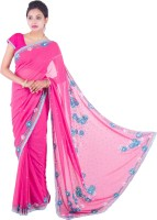 Fab Rajasthan Embellished Fashion Handloom Pure Georgette Saree(Pink)