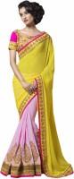 Admyrin Solid Fashion Georgette Saree(Pink, Yellow)