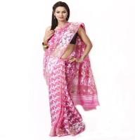 Purabi Woven Jamdani Handloom Silk Saree(Pink)