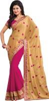 M.S.Retail Self Design Fashion Crepe Saree(Beige, Pink)
