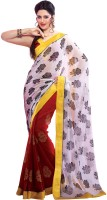 Cenizas Printed Fashion Georgette Saree(Red, White)