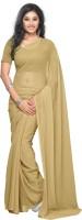 Surupta Solid Daily Wear Pure Georgette Saree(Beige)