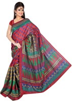 Khushali Geometric Print Bhagalpuri Art Silk Saree(Multicolor)