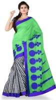 Weavedeal Embellished, Embroidered Bollywood Cotton, Chanderi Saree(Light Green)