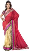 Khushali Self Design, Embroidered, Embellished Fashion Georgette Saree(Pink, Beige, White, Multicolor)