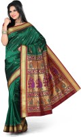 Ishin Printed Paithani Art Silk Saree(Green)