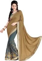 Jiya Self Design, Embroidered, Embellished Fashion Cotton Blend, Poly Georgette Saree(Beige, Grey)