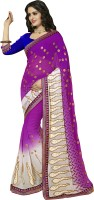 Khoobee Self Design, Embroidered, Embellished Fashion Poly Georgette Saree(Purple, White)
