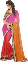 Kvsfab Self Design Fashion Georgette Saree(Pink, Orange)