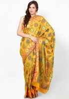 Bunkar Printed Banarasi Organza Saree(Gold, Yellow)