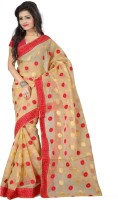 Indianbeauty Embroidered Fashion Handloom Cotton Saree(Beige)