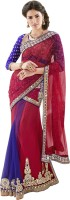 Triveni Printed Lehenga Saree Net, Satin Saree(Red)