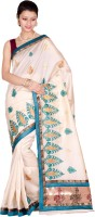 Chandrakala Embroidered, Woven Banarasi Cotton, Silk Saree(White, Blue)