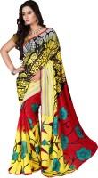 Jiya Self Design, Printed Fashion Poly Georgette Saree(Multicolor, Red, Black, Yellow)
