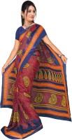 Jiya Self Design, Printed Fashion Chiffon Saree(Multicolor, Blue, Orange)