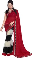 Florence Embroidered Bollywood Synthetic Chiffon Saree(Red, Black)