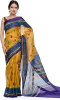 SAS Creations Printed Kasavu Cotton Blend, Polycotton Saree(Mustard)