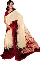 Khoobee Self Design, Printed Fashion Poly Georgette Saree(Red, Beige)