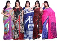 Ishin Printed Fashion Crepe Saree(Pack of 5, Multicolor)