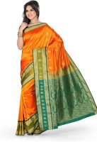 Ishin Solid Fashion Art Silk Saree(Yellow)