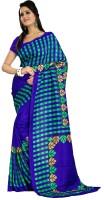 Gugaliya Checkered Fashion Art Silk Saree(Blue, Green)