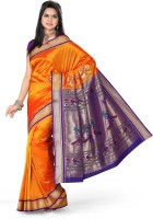 Ishin Printed Paithani Art Silk Saree(Orange)
