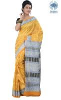 Tantuja Printed Fashion Handloom Silk Saree(Yellow)