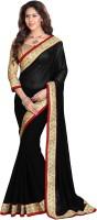 Mirchi Fashion Solid Bollywood Georgette Saree(Black)