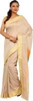 Kataan Bazaar Woven Banarasi Handloom Tussar Silk Saree(Beige)