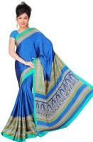 Khoobee Geometric Print Fashion Poly Crepe Saree(Blue)