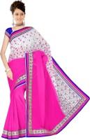 Sonal Trendz Embroidered Bollywood Chiffon Saree(Pink)