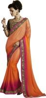 Melluha Embroidered Fashion Jacquard Saree(Orange)