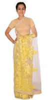 Reme Self Design Fashion Net Saree(Pack of 2, Beige, Yellow)