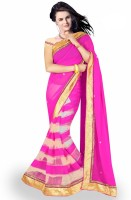 Welcome Fashion Self Design Bollywood Handloom Georgette Saree(Pink, White)