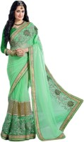 M.S.Retail Embroidered Fashion Handloom Chiffon Saree(Green)