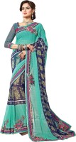 Khoobee Self Design, Embroidered, Embellished Fashion Chiffon Saree(Green, Blue)