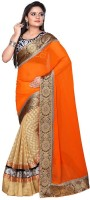 Nairiti Fashions Solid Bollywood Georgette, Net Saree(Orange, Beige)