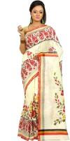 B3Fashion Woven Kosa Handloom Pure Silk Saree(White)