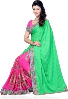 JTInternational Self Design Fashion Jacquard, Georgette Saree(Green)