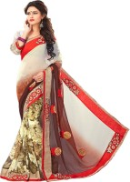 Sonal Trendz Embroidered Fashion Synthetic Georgette Saree(White, Red)