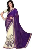 Jiya Self Design, Embroidered, Embellished Fashion Cotton Blend, Chiffon Saree(Purple, Beige)