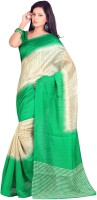 Gugaliya Printed Fashion Art Silk Saree(Beige, Green)