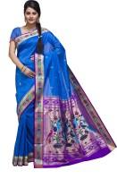 Ishin Printed Fashion Poly Silk Saree(Blue)